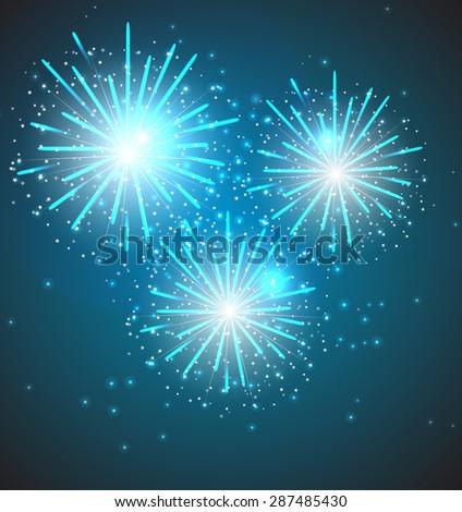 Glossy Fireworks Background Vector Illustration EPS10 - stock vector