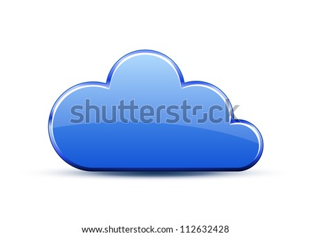 Glossy glass cloud icon. Vector illustration - stock vector