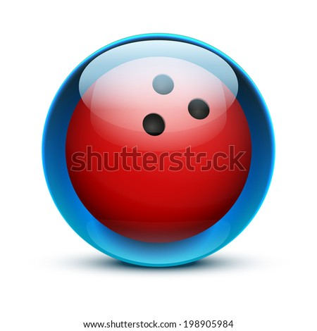 Glossy Glass sports icon with a bowling ball. Button for a site or application. Vector illustration. Isolated on white background. - stock vector