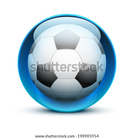 Glossy Glass sports icon with a soccer ball. Button for a site or application. Vector illustration. Isolated on white background. - stock vector
