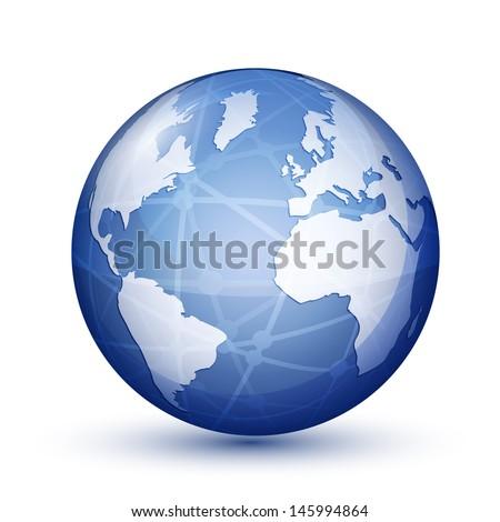 Glossy globe icon. Global communication concept. Vector illustration - stock vector