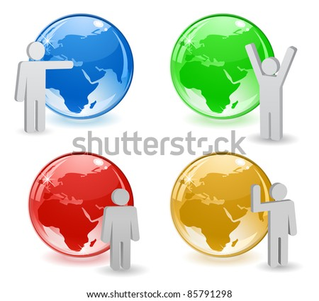glossy globe icon with person icon
