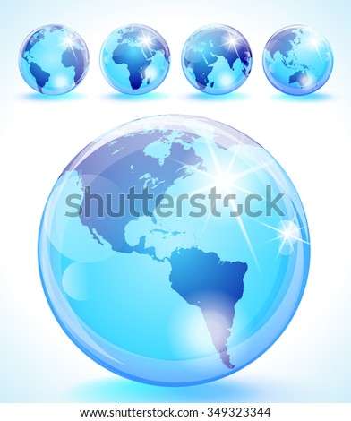 Glossy globes set with 5 different sides of the world - stock vector