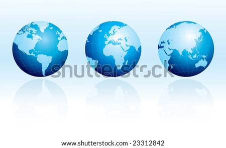 Glossy globes with reflections - stock vector