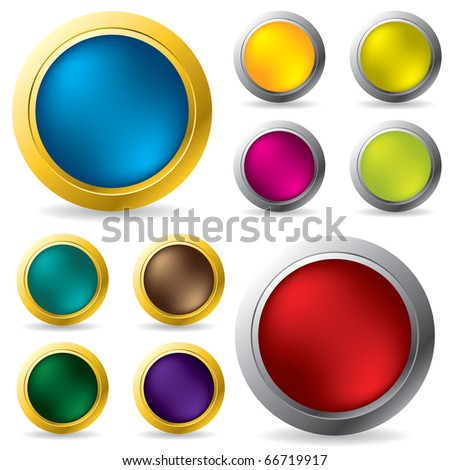 Glossy gold and silver framed buttons
