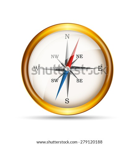 Glossy Gold Compass. Vector Illustration. EPS10 - stock vector