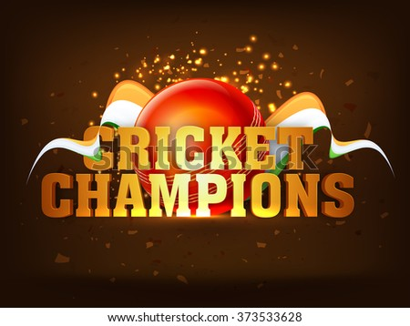 Glossy golden text Cricket Champions with red ball on Indian Flag color waves decorated shiny brown background for Cricket Sports concept. - stock vector