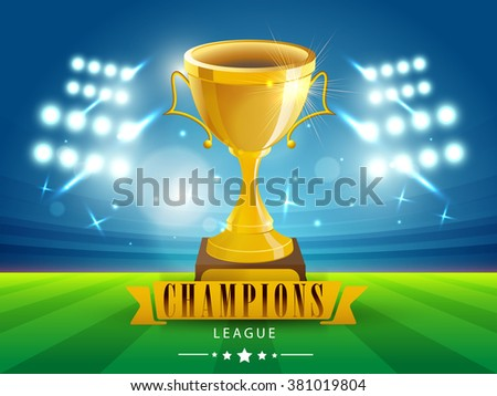 Glossy Golden Trophy on stadium lights background for Cricket Champions League concept. - stock vector