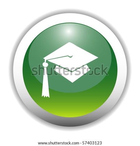 Glossy Graduation Cap Sign Button - stock vector