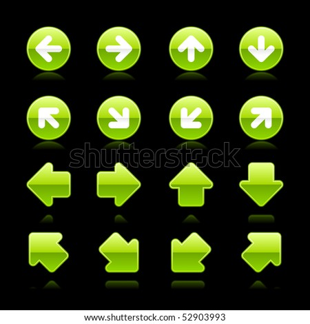 Glossy green web button arrow set with reflection on black