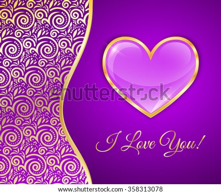 glossy heart in a gold rim on a purple background with lace insert, greeting card for Valentine's Day