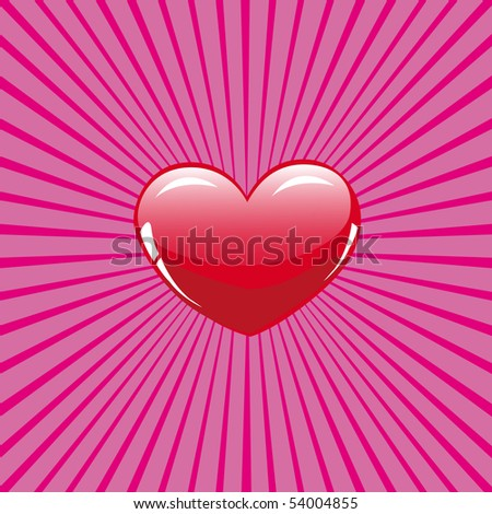 Glossy heart on rose background - stock vector