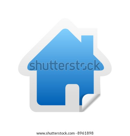 Glossy home sticker icon with peeled edge - stock vector