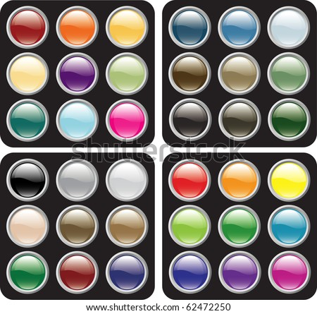 Glossy icon button sets in four color schemes with global color swatches - stock vector
