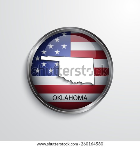 Glossy icon with map of Oklahoma. EPS10 vector
