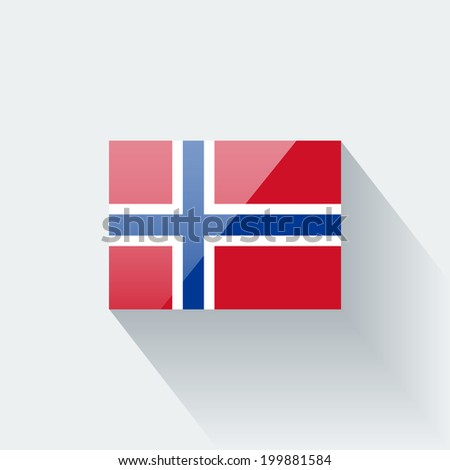 Glossy icon with national flag of Norway. Correct proportions and color scheme. - stock vector