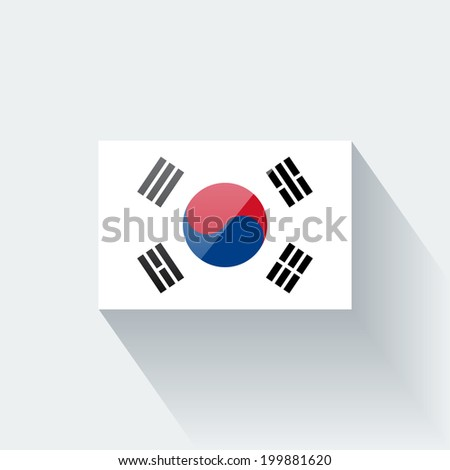 Glossy icon with national flag of South Korea. Correct proportions and color scheme. - stock vector