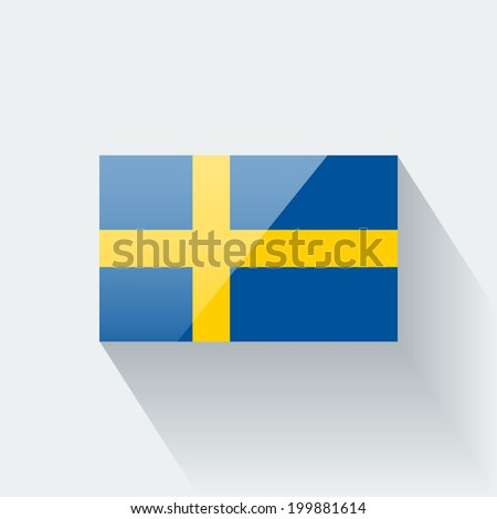 Glossy icon with national flag of Sweden. Correct proportions and color scheme. - stock vector