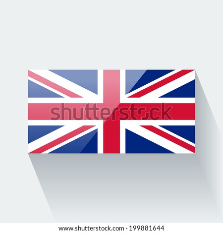Glossy icon with national flag of the UK. Correct proportions and color scheme. - stock vector
