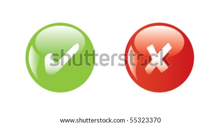 Glossy icons. Green and red buttons: true or false