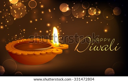 Glossy illuminated oil lit lamp on shiny brown background for Indian Festival of Lights, Happy Diwali celebration. - stock vector