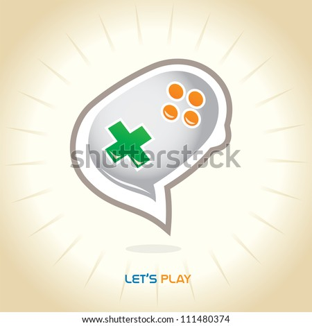 Glossy Joystick Chat Icons, Button, Sign, Symbol, Logo for Family, Baby, Children, Kid, Teenager, People - stock vector