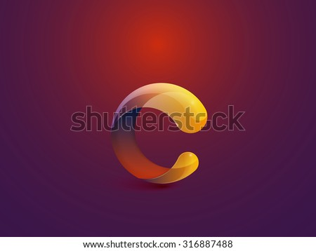 Glossy Logo Design. Letter C. Colorful Icon. Vector Illustration.  - stock vector