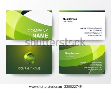 Glossy logo design on business cards stock vector 335022749 glossy logo design on business cards template letter e icon vector illustration reheart Images
