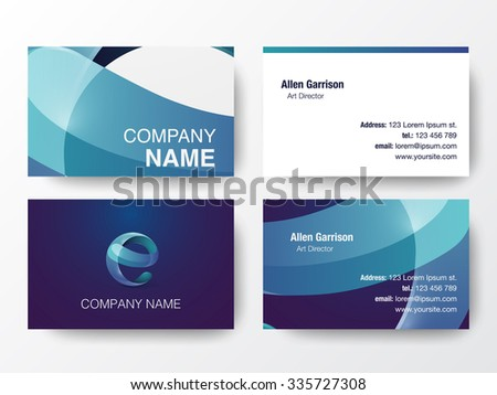 Glossy logo design on business cards template. Letter E icon. Vector illustration. - stock vector