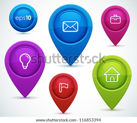 Glossy map pointers with icons - idea, mail, portfolio, home, flag. Vector illustration for your design.