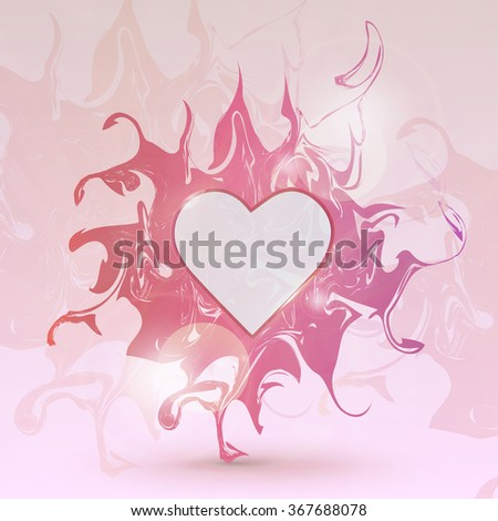 Glossy marble heart frame.Traditional unique chinese, turkish, texture.Happy Valentine's day.Vector marble heart frame for holiday design.Abstract watercolor stains.Trendy glass frame with reflection. - stock vector