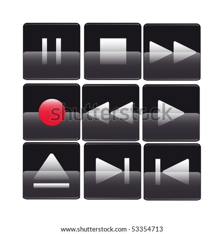 Glossy media buttons - stock vector