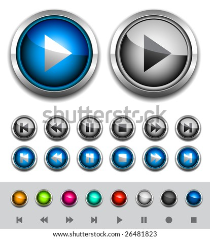 Glossy media buttons. Vector - stock vector