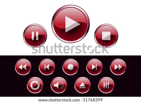 glossy media buttons - vector