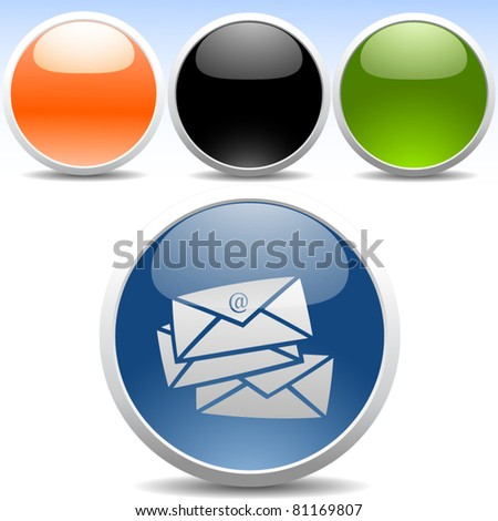 Glossy modern icons - Email - stock vector