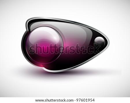 Glossy modern web button. Web navigation. Vector bubble speech. Part of set. - stock vector