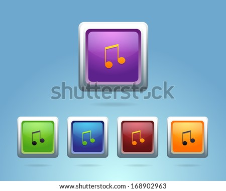 Glossy Music Note Icon/Button