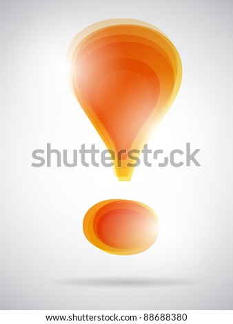 glossy orange exclamation mark. vector illustration - stock vector