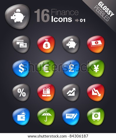 Glossy Pebbles - Finance icons - stock vector
