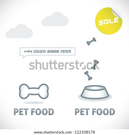 Glossy Pet Shop, Food Sign, Symbol, Button, Badge, Icon, Logo, Illustration for Family, Baby, Children, Teenager, People - stock vector
