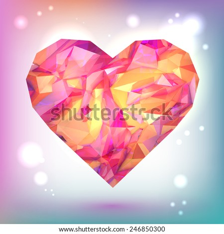 Glossy pink, orange heart on pink background, vector illustration. Pink glass heart. Colorful icon. Happy Valentine's Day.