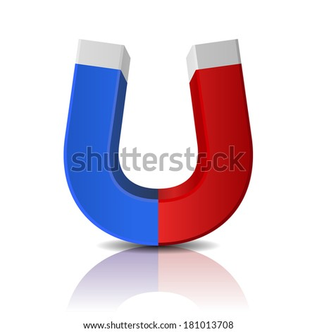 Glossy Polished Red and Blue Magnet on White Background - stock vector