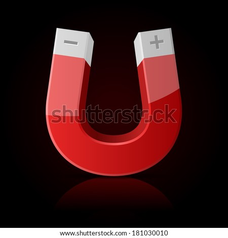 Glossy Polished Red Magnet on Dark Background - stock vector