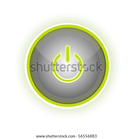 Glossy power button with glow effect, vector - stock vector