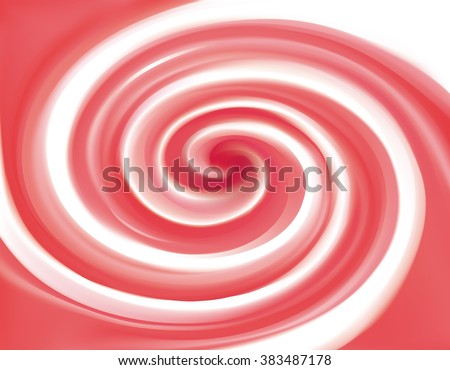 Glossy radial curvy fond with space for text on milky stripes. Whirl red gel eddy syrup surface. Appetizing mix jam juicy rose color: redcurrant, dragon or pitaya, cowberry, watermelon, grapefruit - stock vector