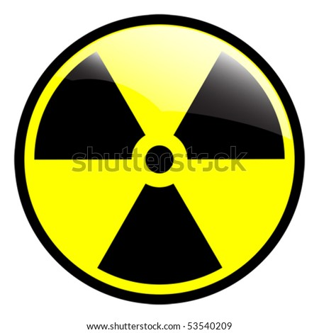 Glossy radiation symbol on white background - eps 10