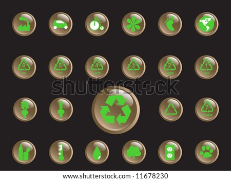 Glossy recycling & environment icons - Part 4 (vector) - stock vector