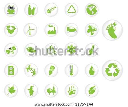Glossy recycling & environment icons - Part 6 (vector) - stock vector