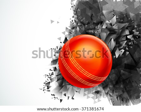 Glossy Red Ball on creative abstract background for Cricket Sports concept. - stock vector
