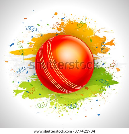 Glossy red Ball on saffron and green paint stroke background for Cricket Sports concept.